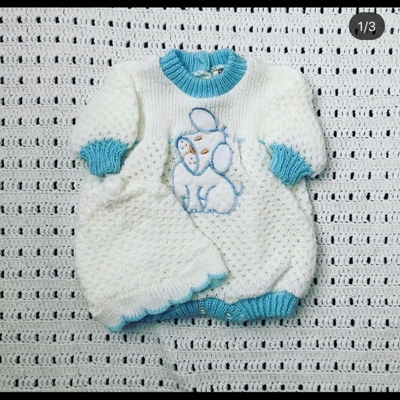 Vintage Baby knit puppy romper with hat